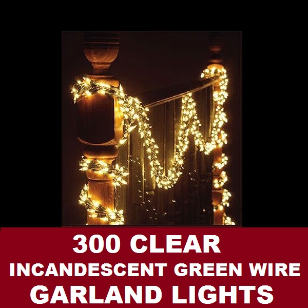 300 Clear Garland Lights Green Wire