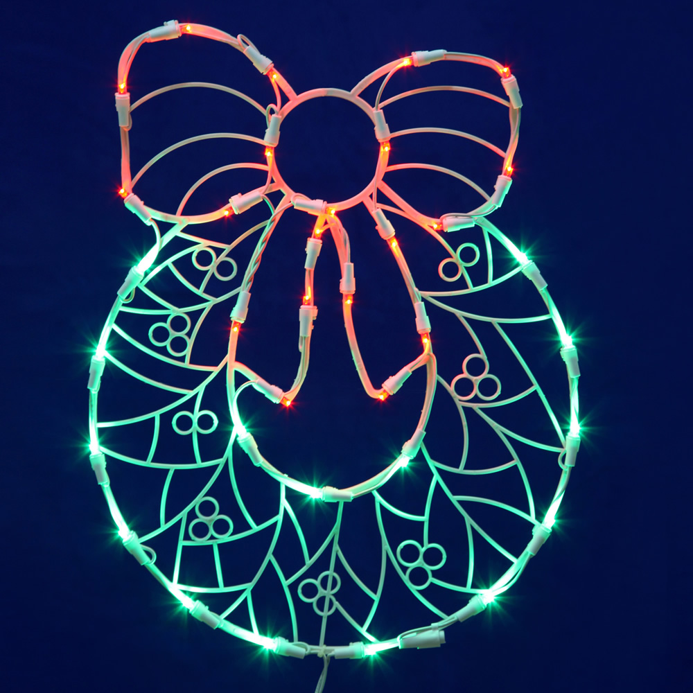 Wreath With Bow Wire Frame Decoration C7 Lights