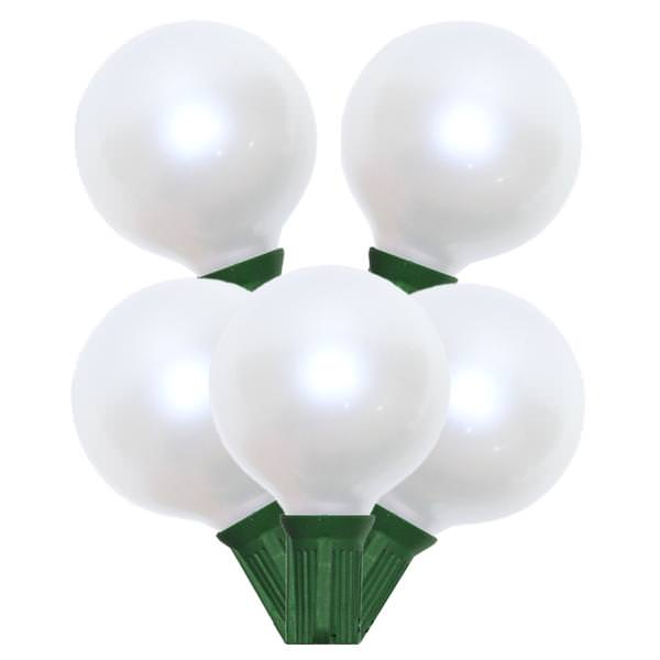 15 Incandescent G50 Globe Pearl White C7 Socket Wedding Light Set Green Wire