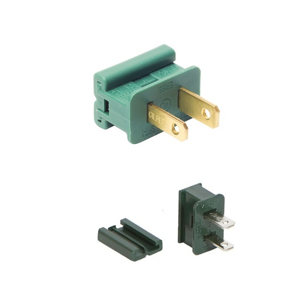 Green Male Quick Plug SPT2 18 Gauge Green Wire 6 per Set