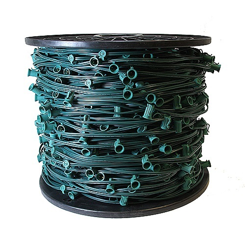 1000 Foot C9 Light String 6 Inch Spacing Green Wire