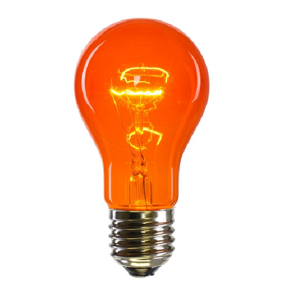 25 Incandescent A19 Amber Transparent Replacement Light Bulbs - 25 Watts