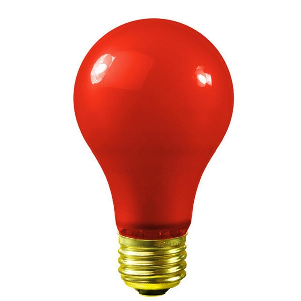 25 Incandescent A19 Red Ceramic Replacement Light Bulbs - 25 Watts