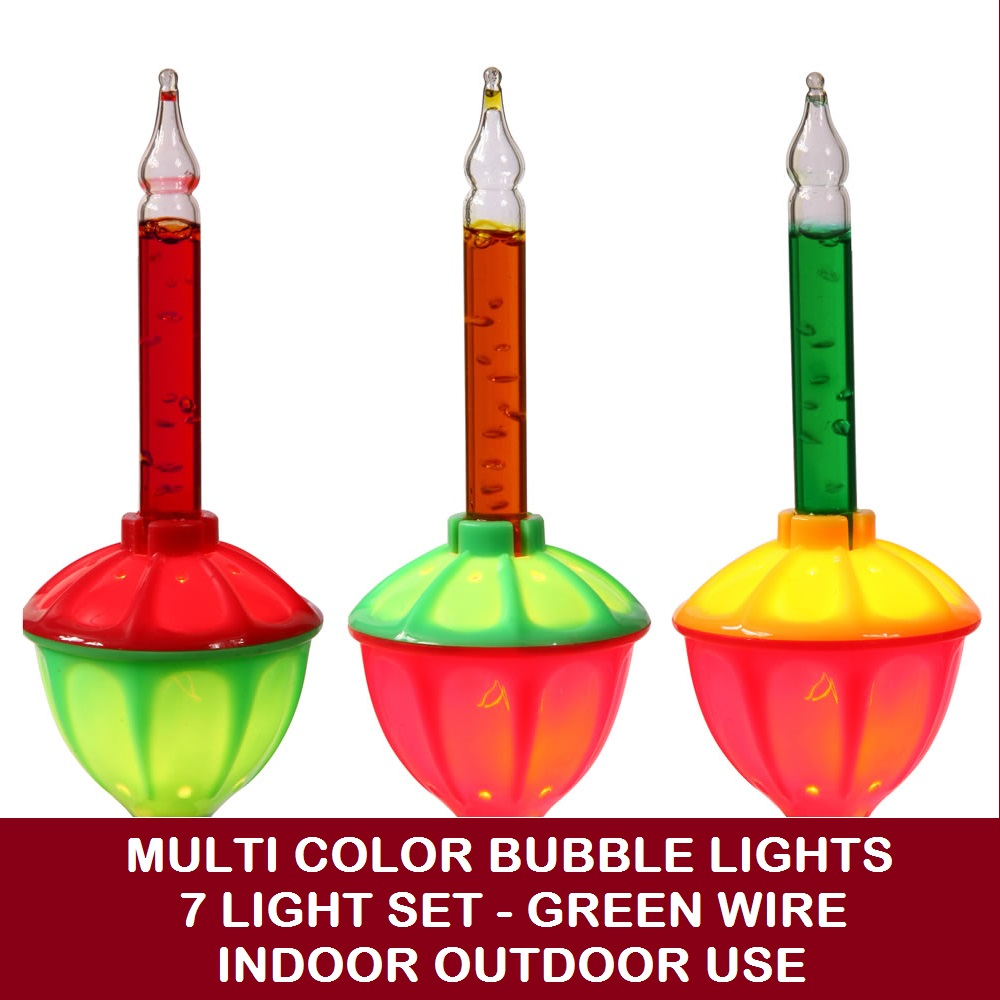 7 Incandescent C7 Multi Color Bubble Christmas Light Set - Green Wire
