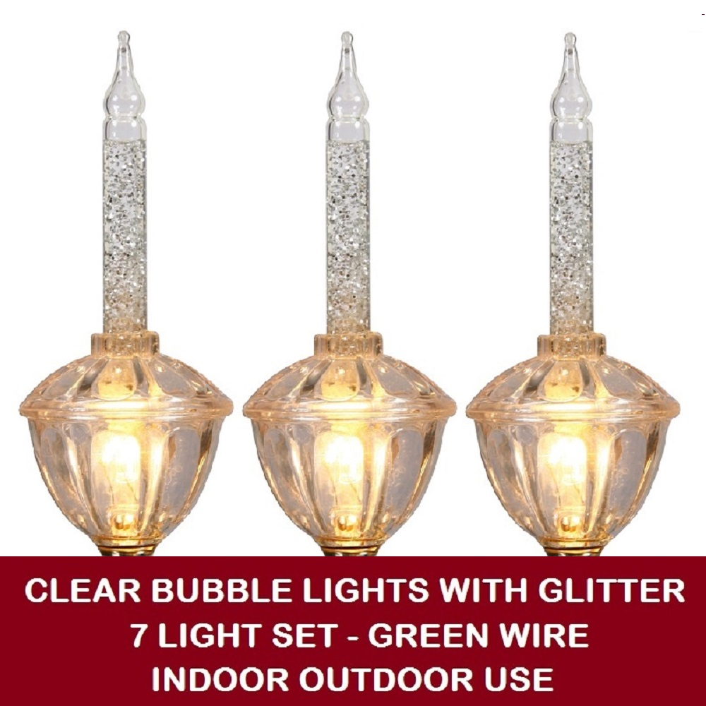 7 incandescent c7 clear bubble lights with glitter christmas light set green wire