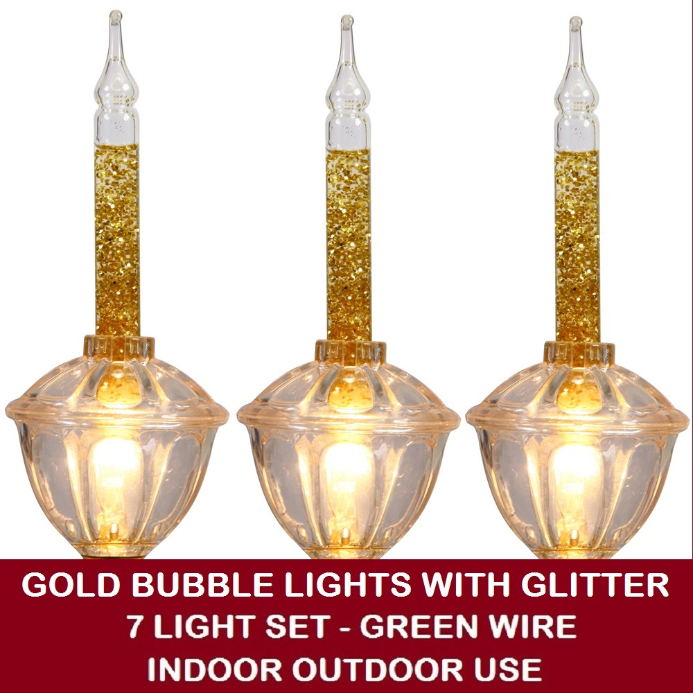 7 Incandescent C7 Gold Bubble Lights with Glitter Christmas Light Set - Green Wire