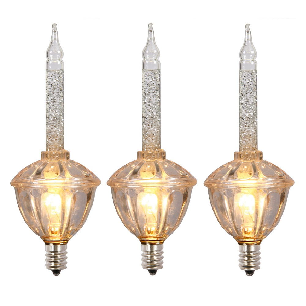 3 Incandescent C7 Clear Bubble Light with Glitter Replacement Bulbs