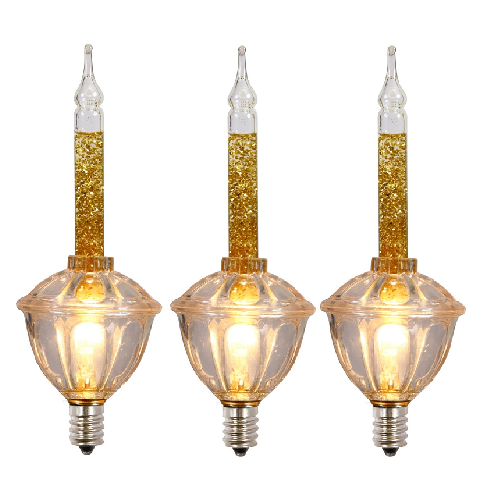 3 Incandescent C7 Gold Bubble Light with Glitter Replacement Bulbs