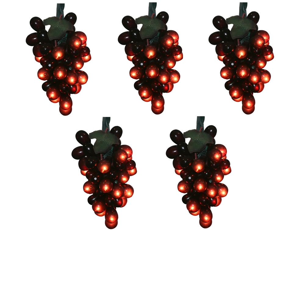 Red Grape Cluster 100 Incandescent Mini Christmas Light Set