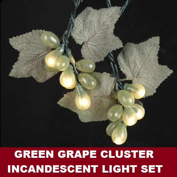 Green Grape Cluster 50 Incandescent Mini Christmas Light Set