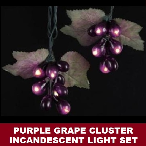 Purple Grape Cluster 50 Incandescent Mini Christmas Light Set