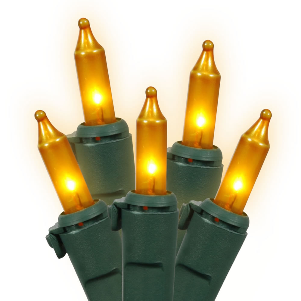 50 Gold Mini Incandescent Christmas Light Set - Green Wire - 4 Inch Spacing
