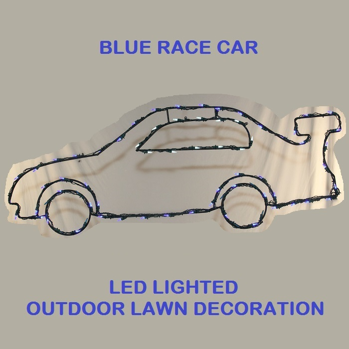 10 Foot Blue Race Car LED Lighted Outdoor Lawn Decoration