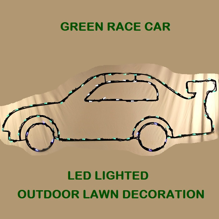 10 Foot Green Race Car LED Lighted Outdoor Lawn Decoration