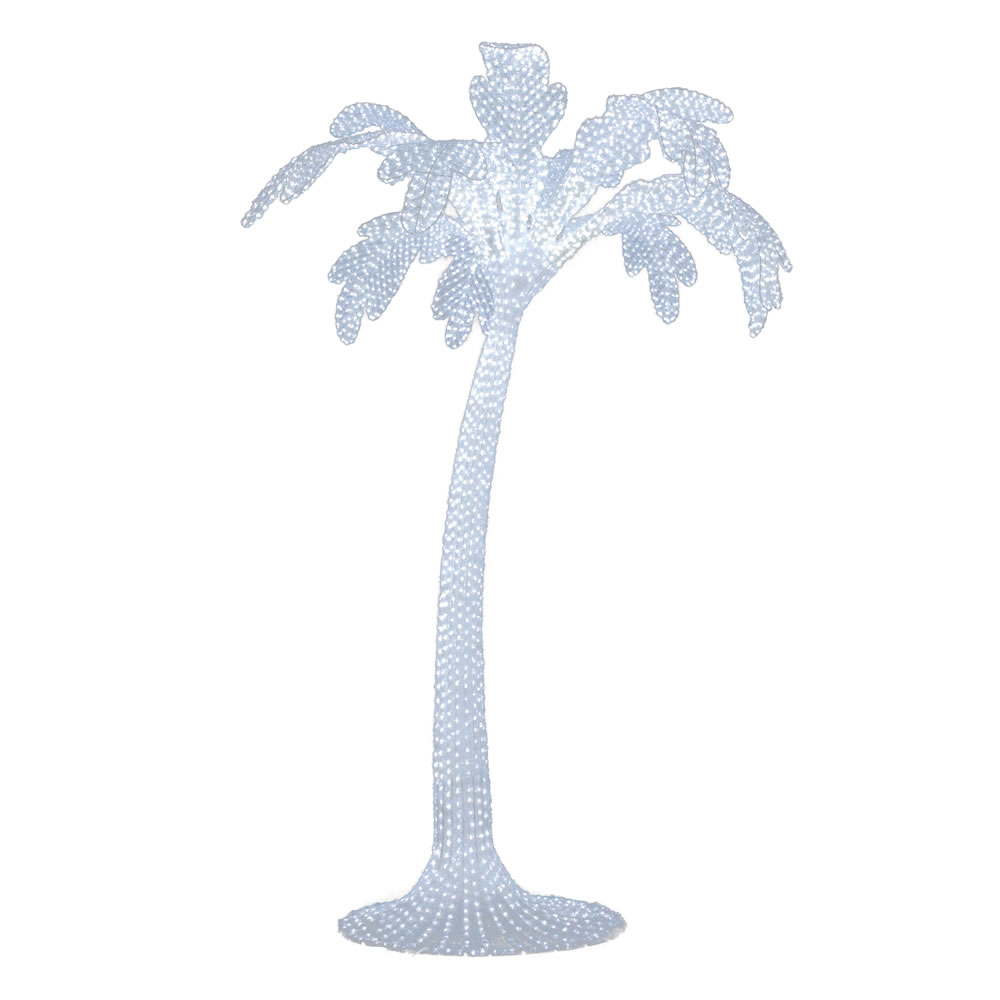 10 Foot White Artificial Outdoor Palm Tree 5500 LED White Lights