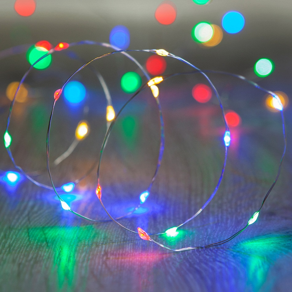 60 LED Micro Multi Color Green Wire Christmas Light Set