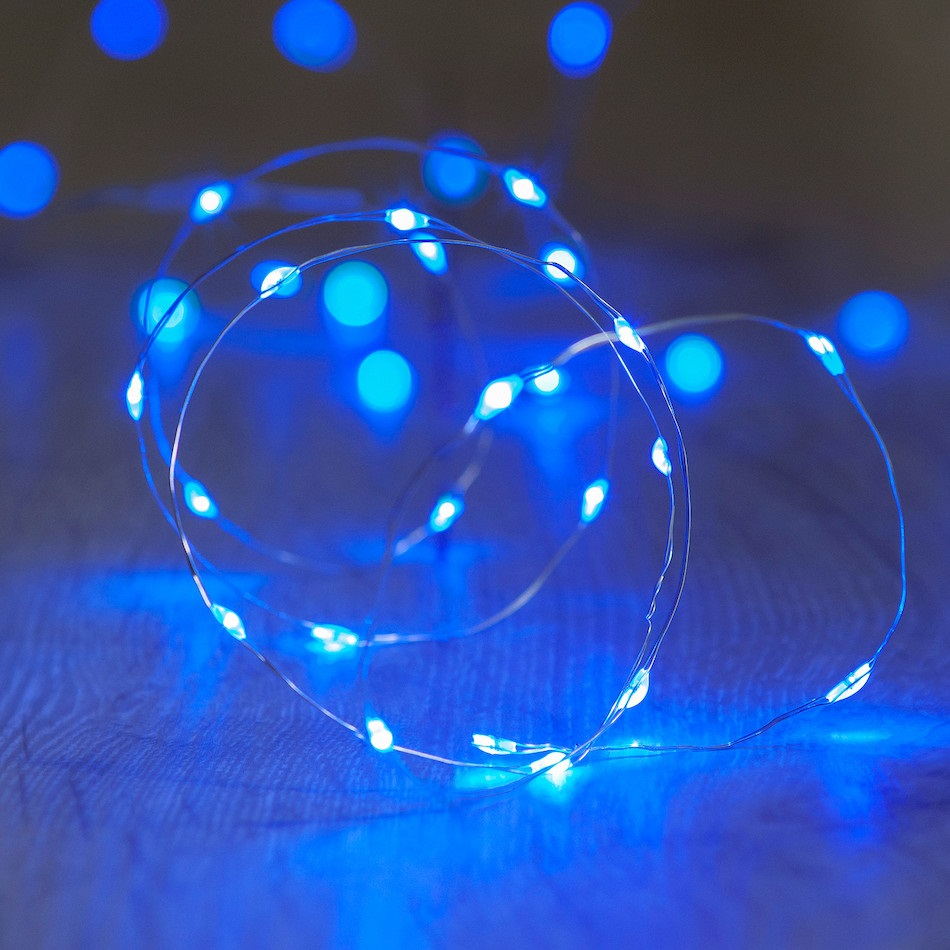 60 Blue LED Thin Wire Micro Lights Clear Wire