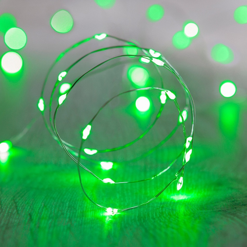 60 Green LED Thin Wire Micro Lights Clear Wire
