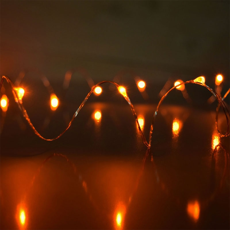 60 Orange LED Thin Wire Micro Lights Clear Wire