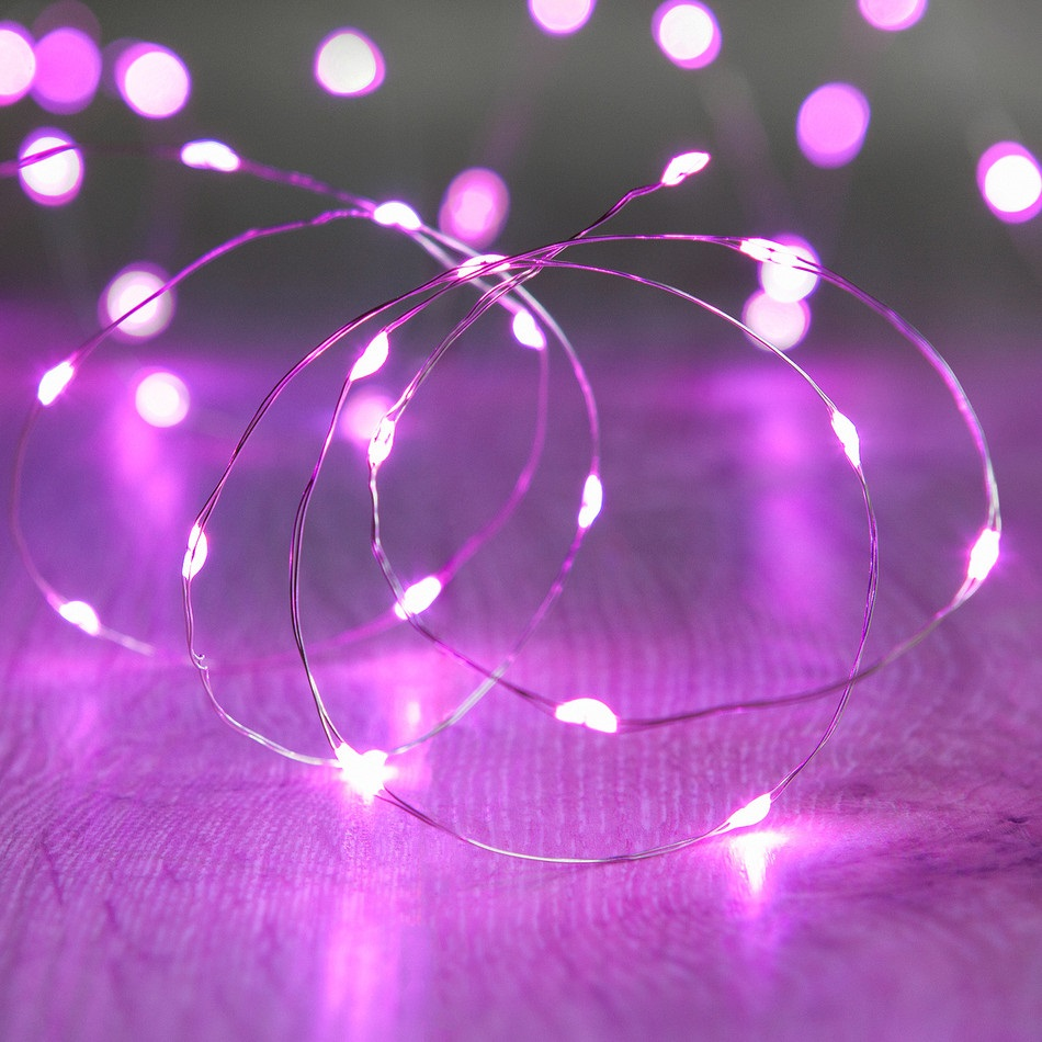 60 Pink LED Thin Wire Micro Lights Clear Wire