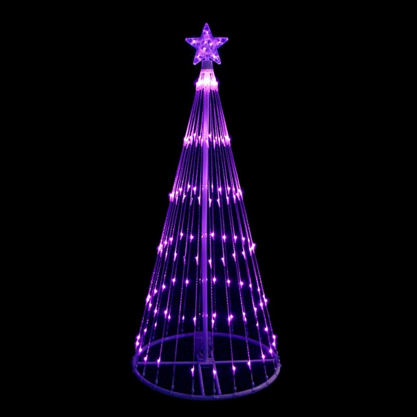 9 Foot Lighted Christmas Tree Decoration 344 LED Purple Lights