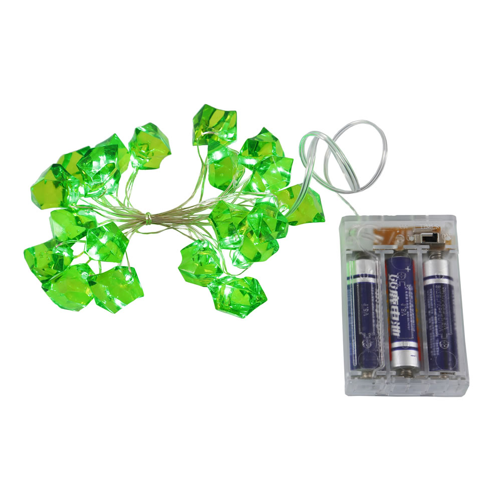 20 Battery Operated LED Ice Cube Green Christmas Light Set 6 Hour Timer