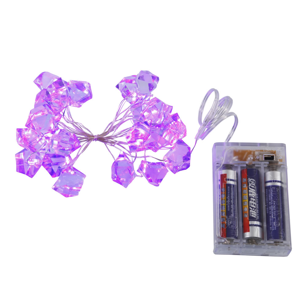 20 Battery Operated LED Purple Ice Cube Light Set
