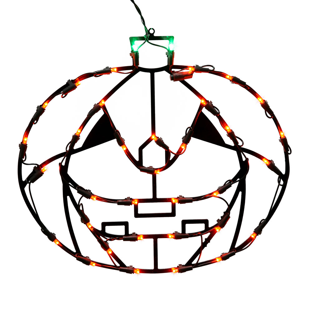 Jack O Lantern Pumpkin LED Lighted Window Halloween Decoration 35 LED 5MM Wide Angle Polka Dot Lights