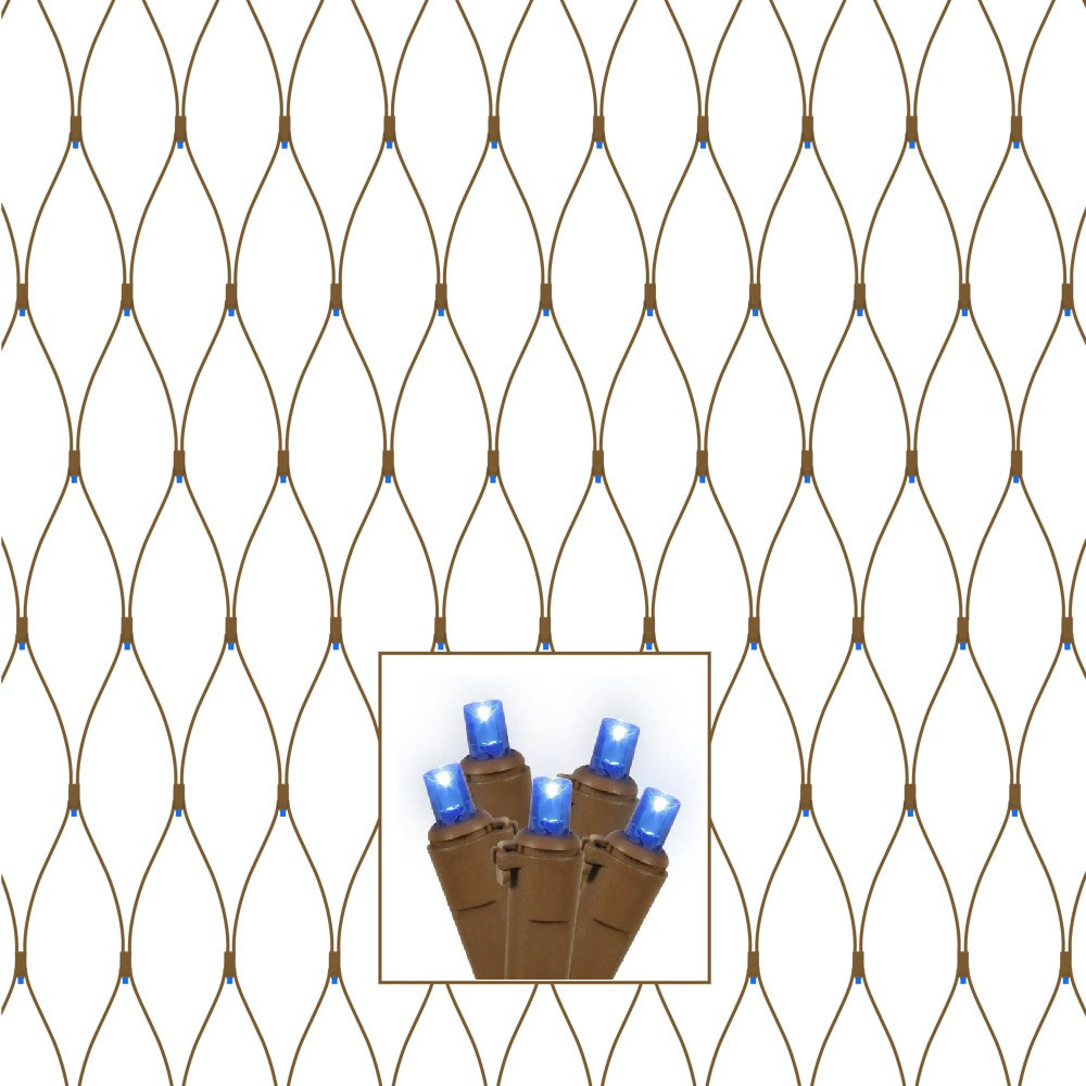 150 LED 5MM Polka Dot Wide Angle Blue Tree Trunk Net Light Set Brown Wire