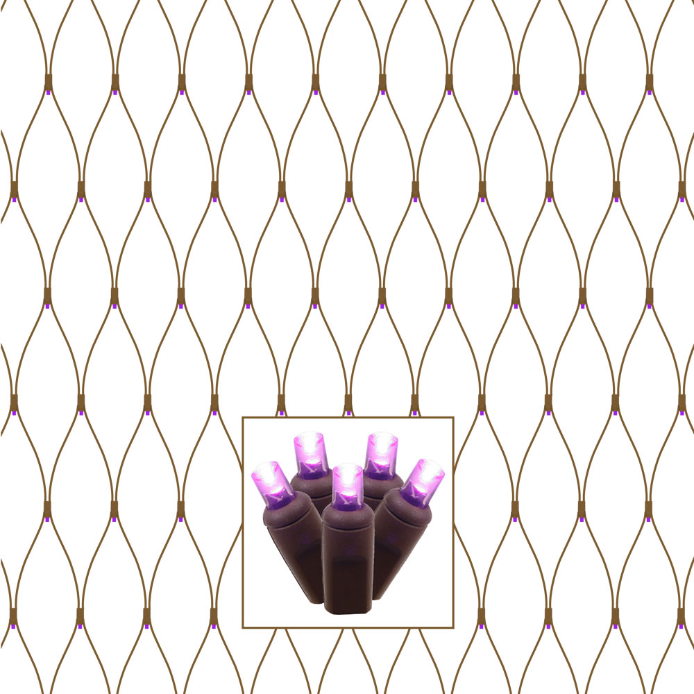 150 LED 5MM Polka Dot Wide Angle Purple Halloween Tree Trunk Net Light Set Brown Wire