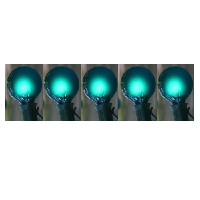 25 LED G30 Globe Teal Ceramic Christmas Light Set Green Wire