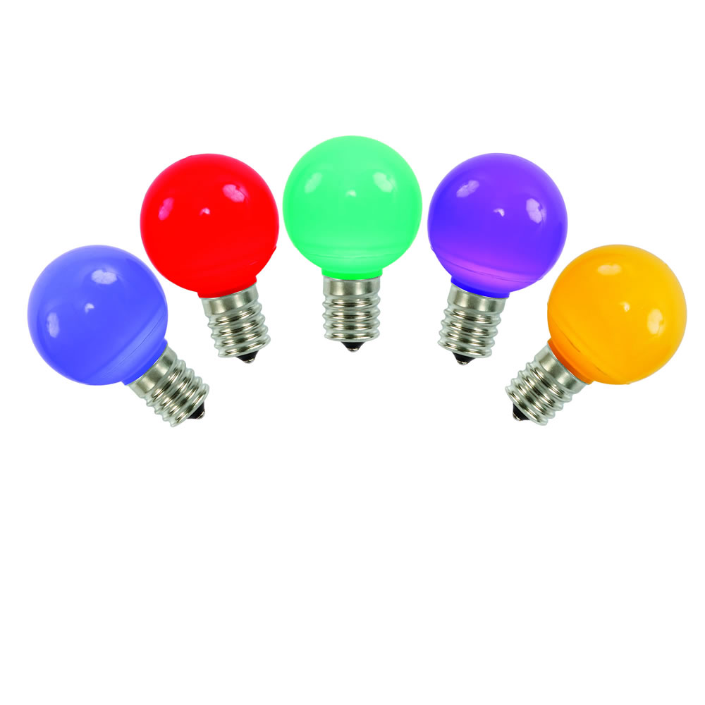 5 LED G50 Globe Multi Color Ceramic Retrofit C9 Socket Christmas Replacement Bulbs