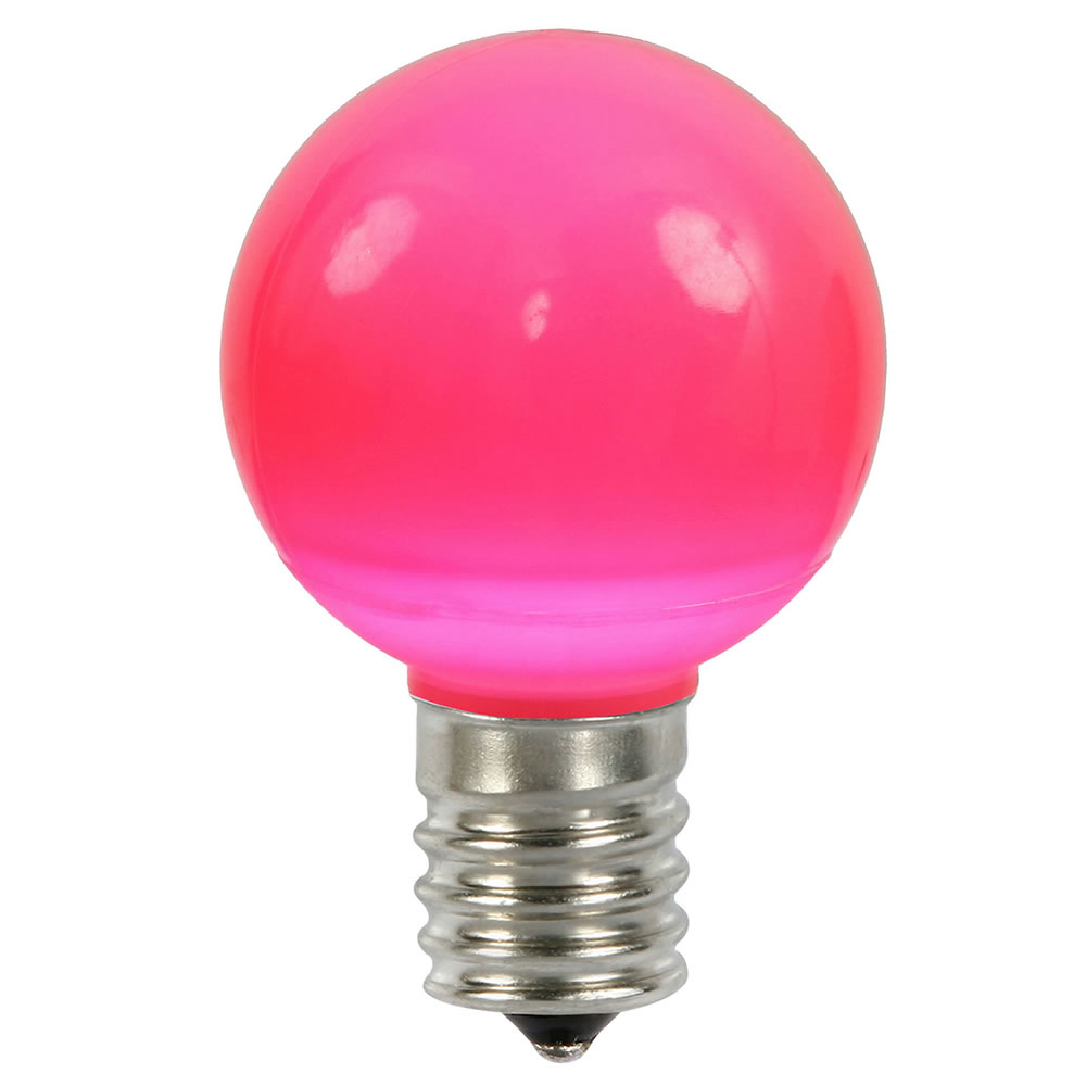 25 LED G50 Globe Pink Ceramic Retrofit C9 Socket Replacement Bulbs