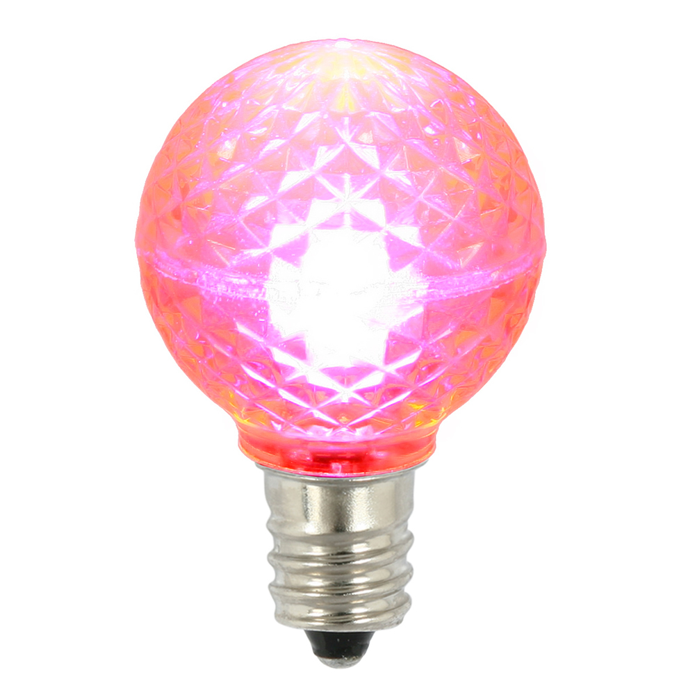 25 LED G30 Globe Pink Faceted Retrofit Night Light C7 Socket Replacement Bulbs