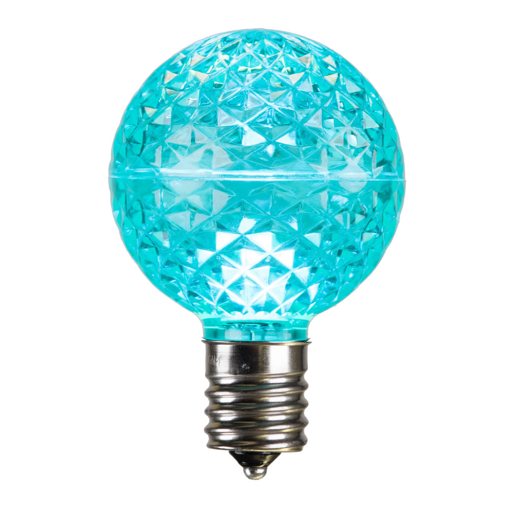25 LED G50 Globe Teal Faceted Retrofit C9 Socket Replacement Bulbs