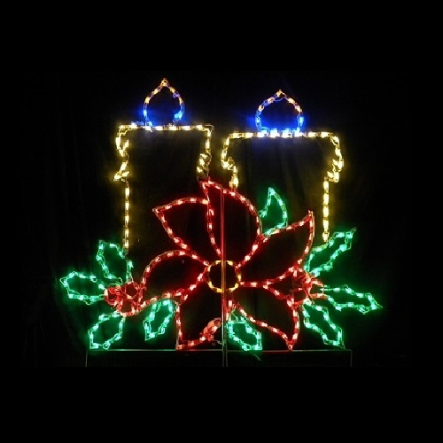 Christmas Candles With Poinsettia Outdoor Christmas Decoration