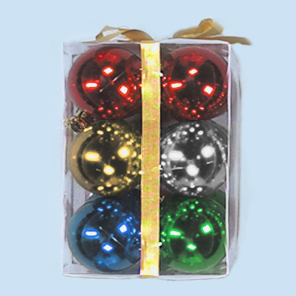 3 Inch Multi Color Plastic Shatterproof Shiny Round Christmas Ball Ornaments Box of 72