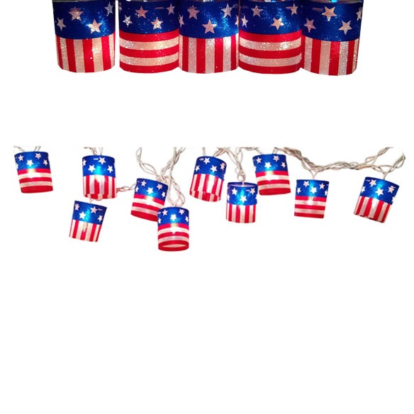 Patriotic Red, White and Blue Stars and Stripes Lantern String Lights Are A Stellar July Fourth Decoration