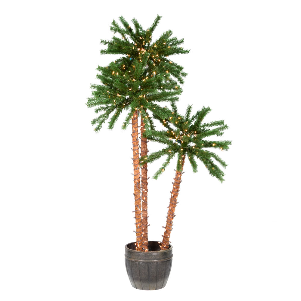 Triple Outdoor Artificial Palm Tree 500 DuraLit Incandescent Clear Mini Lights
