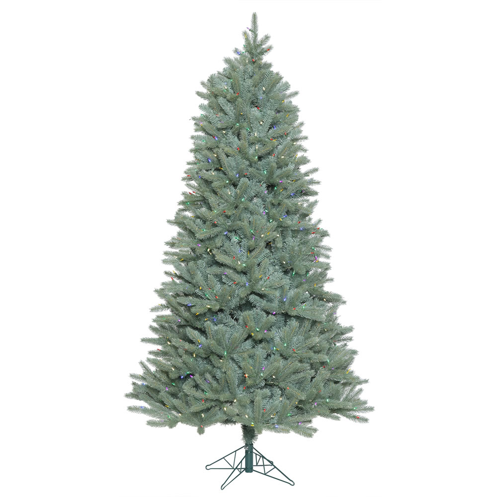 15 Foot Colorado Blue Spruce Slim Artificial Commercial Christmas Tree 3300 LED M5 Italian Multi Color Mini Lights