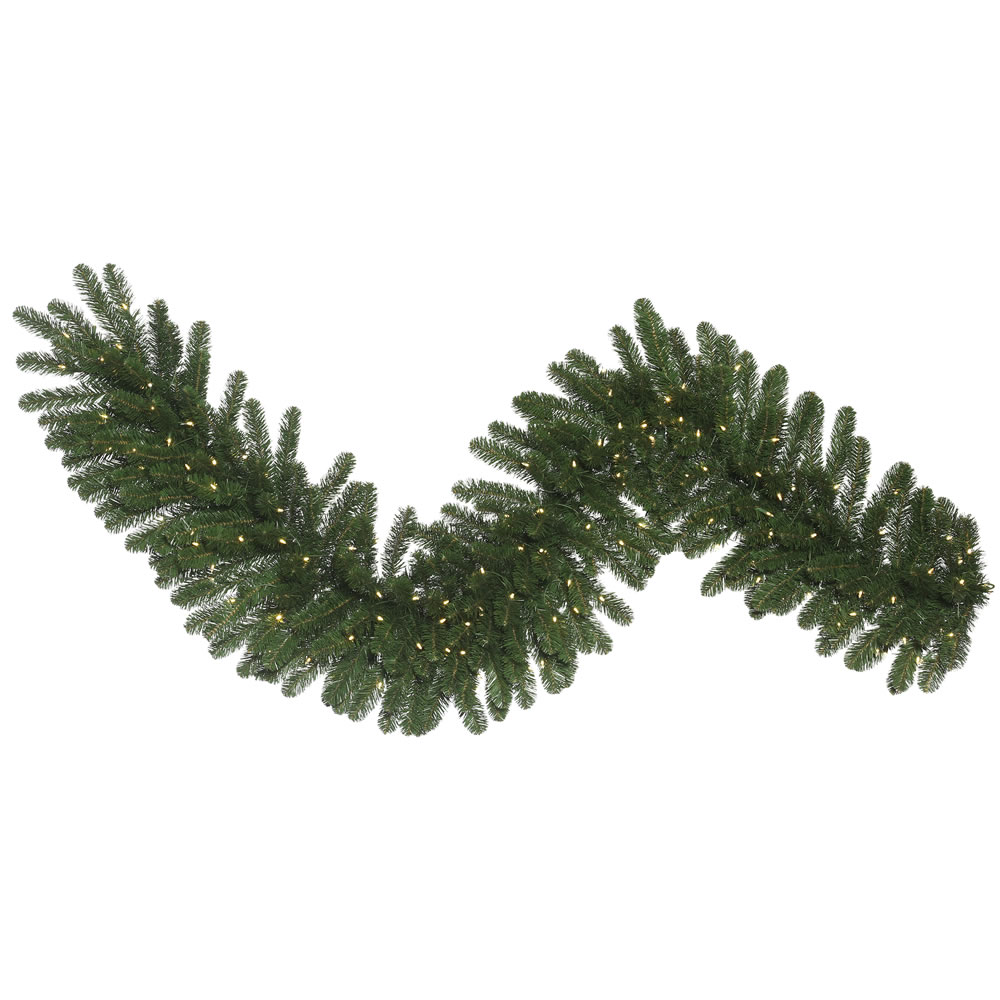 9 Foot Oregon Fir Wide Artificial Christmas Garland 150 LED 5MM Wide Angle Warm White Mini Lights
