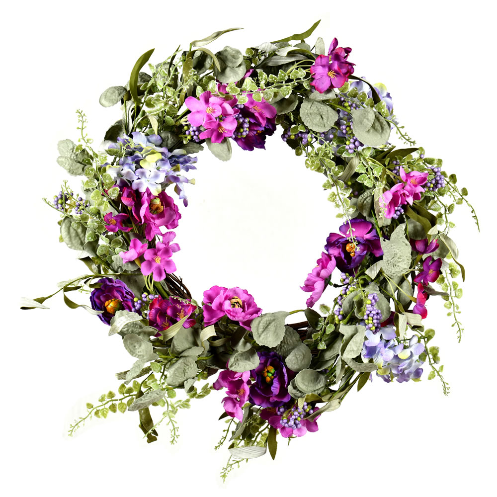 22 Inch Mixed Purple Floral Wreath