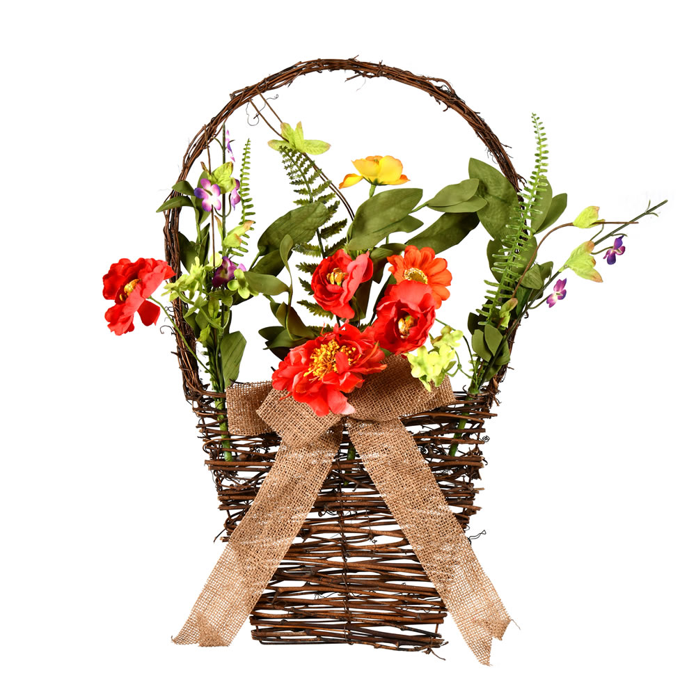 Coral Orange Green Flower Basket
