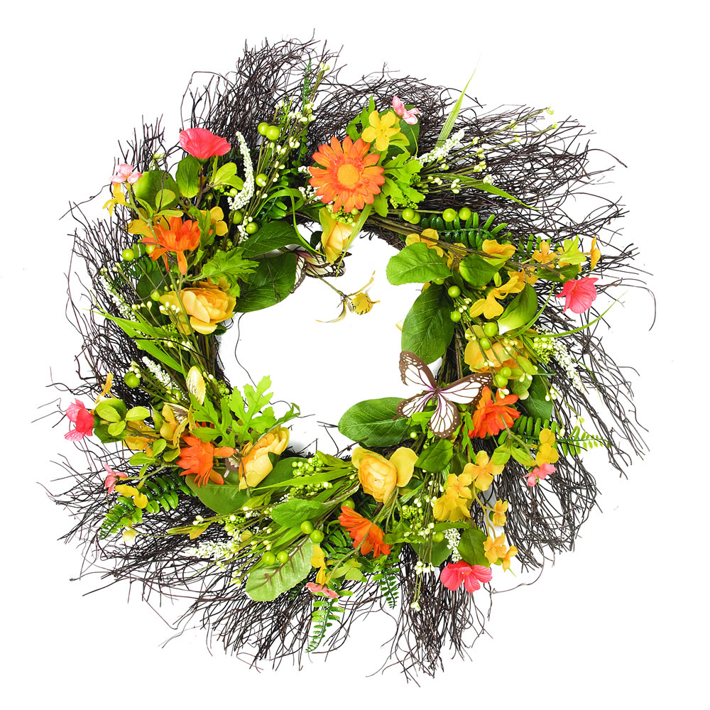 24 Inch Yellow Mixed Floral Wreath