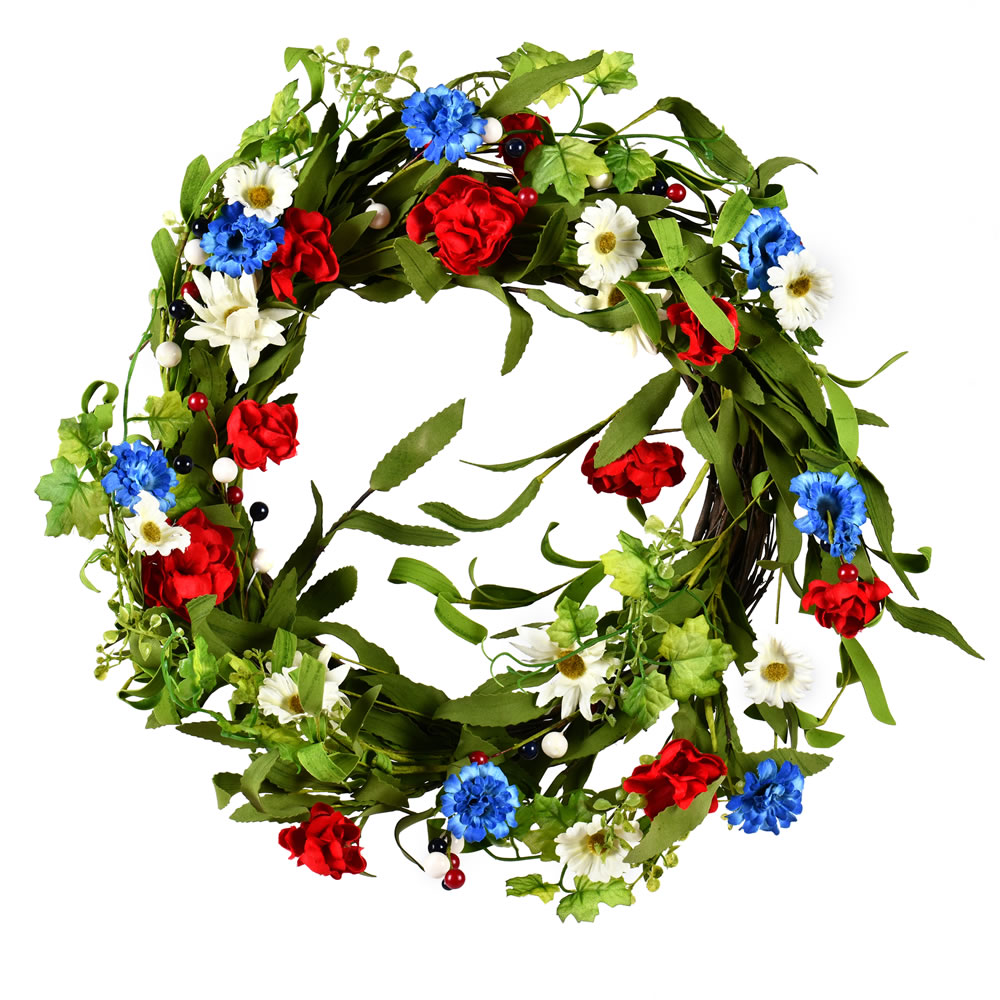22 Inch  Red/White/Blue Floral Wreath