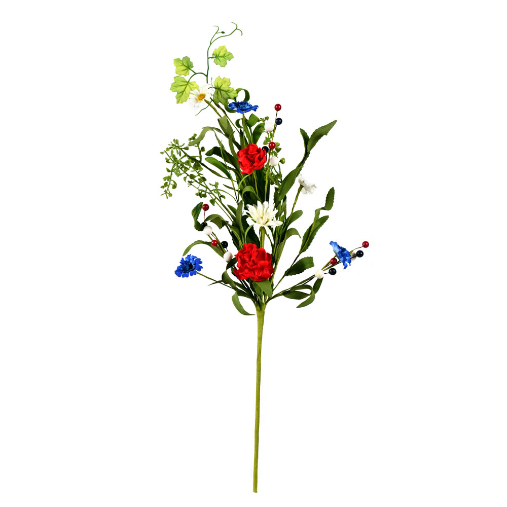 26 Inch Red White Blue Floral Spray 3 Pk