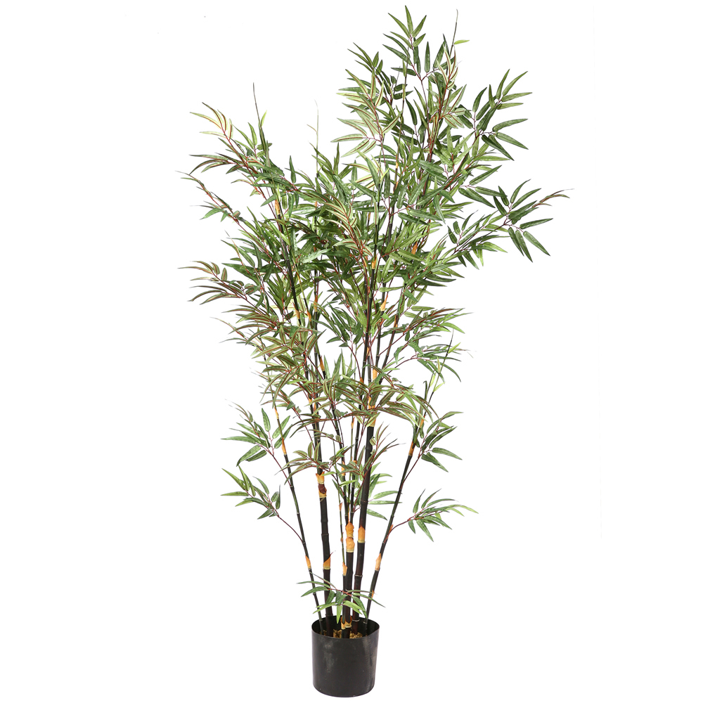 6 Foot Green Bamboo Artificial Potted Palm Tree