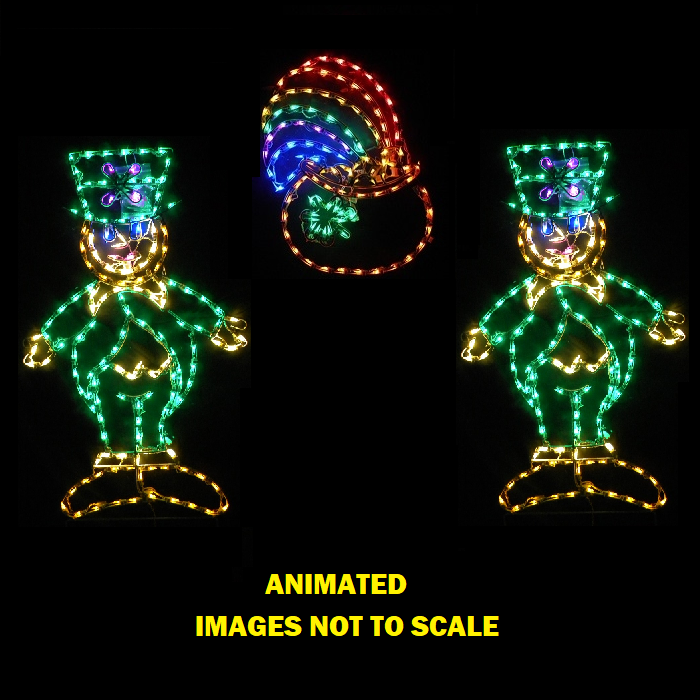 Saint Patricks Day Dancing Leprechauns Around A Pot Of Gold LED Lighted Decoration