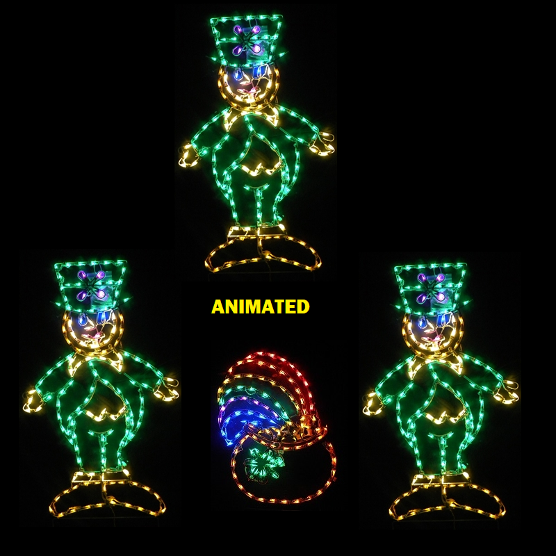 Leprechauns Dancing Around A Pot Of Gold LED Lighted Outdoor Saint Patricks Day Decoration