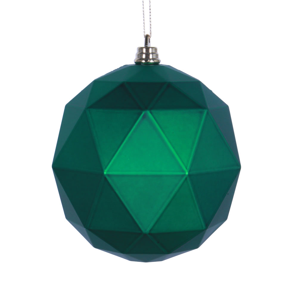 4.75 Inch Green Matte Geometric Christmas Ball Ornament Shatterproof Set of 4
